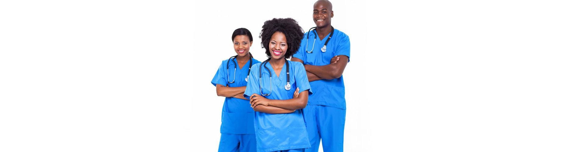 three smiling nurses